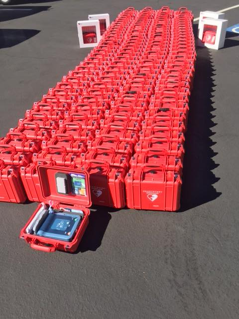 In partnership with the Santa Clara County Board of Supervisors, Racing Hearts deployed 136 AEDs into the county Sheriff patrol cars, 38 AEDs into the County Parks and Recreational Department* along with 12 AEDs for the county EMS!  Together, 95% of all public schools within Santa Clara County now have AEDs deployed in their school sites!